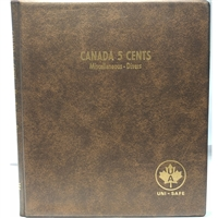 Five Cents Canada Blank (5 pages) Unimaster Brown Vinyl Coin Binders