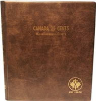 Canada 25-cents Blank Unimaster Brown Vinyl Coin Binders with 5 Pages