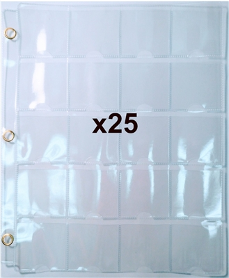 25 x Steel Eyelet 20 Pocket 3-ring binder pages for 2x2's