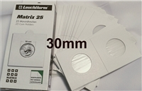 25 x Self-Adhesive Cardboard 2x2 Holders - 50c Silver/$2 size - 30mm.