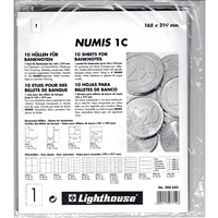 1 Pocket Currency Page Sheet for Numis 4-Ring Binder (pack of 10) NH1