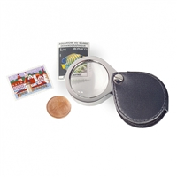 Foldaway Pocket Magnifier. 5x Lens with Leather case