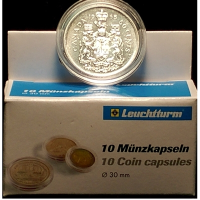 10 x Round plastic coin capsules for Canadian 50-cents Silver (30mm).