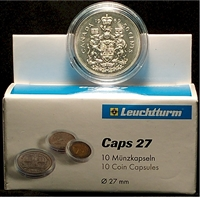 #2 QUADRUM : SQUARE COIN CAPSULE  27mm pkg of 5 FIFTY CENTS NICKEL