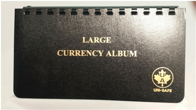"Large Currency Album - 4x8"", contains 10 pages for Paper Money"