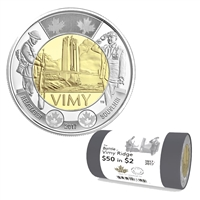 2017 Canada $2 The Battle of Vimy Ridge Special Wrap Roll of 25pcs