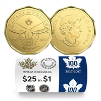 2017 Canada $1 100th Anniversary of the Toronto Maple Leafs Special Wrap Roll of 25pcs