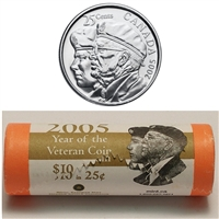 2005-P Canada 25-Cent Year of the Veteran Special Wrap Roll of 40pcs