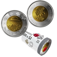 2018 Canada $2 Armistice Special Wrap Roll of 25 pcs (some coloured)