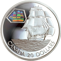 2001 Canada $20 Transportation Ship - Marco Polo Sterling Silver
