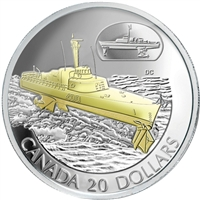 2003 Canada $20 Transportation Ship - HMCS Bras d'or Sterling Silver