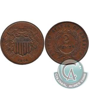 1864 Large Motto USA 2-cents Almost Uncirculated (AU-50) $