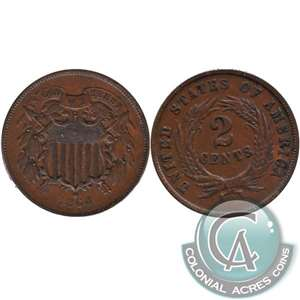 1864 Large Motto USA 2-cents EF-AU (EF-45) $