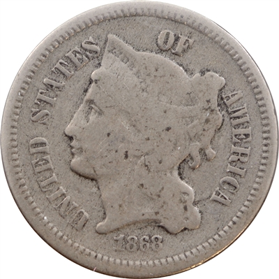 1868 Nickel USA 3 Cents G-VG (G-6)