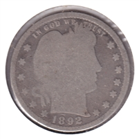 1892 USA Quarter About Good (AG-3)