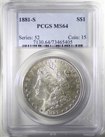 1881-S USA Dollar PCGS Certified MS-64