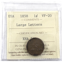 1858 Large Letter USA Cent ICCS Certified VF-20