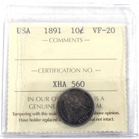 1891 USA Dime ICCS Certified VF-20