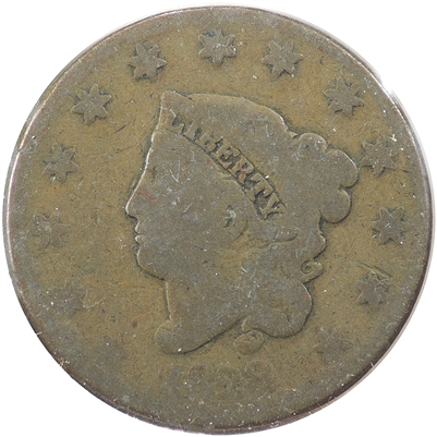 1828 Large Narrow Date USA Cent About Good (AG-3)