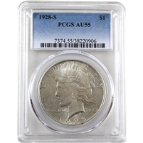 1928 S USA Dollar PCGS Certified AU-55