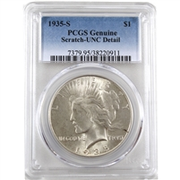 1935 S USA Dollar PCGS Certified UNC Details (Scratch)