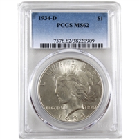 1934 D USA Dollar PCGS Certified MS-62