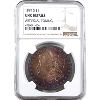 1879 S USA Dollar NGC Certified UNC Details (Artificial toning)