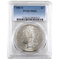 1881 S USA Dollar PCGS Certified MS-62