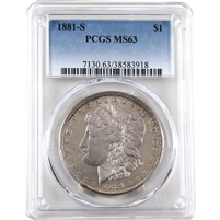 1881 S USA Dollar PCGS Certified MS-63