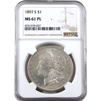 1897 S USA Dollar NGC Certified MS-61 (PL)