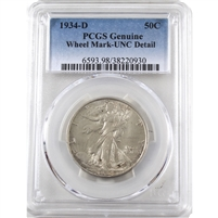 1934 D USA Half Dollar PCGS Certified UNC Details (Wheel Mark)