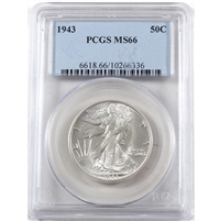 1943 USA Half Dollar PCGS Certified MS-66