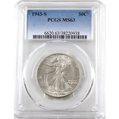 1943 S USA Half Dollar PCGS Certified MS-63