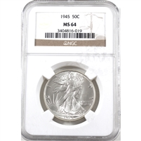 1945 USA Half Dollar NGC Certified MS-64