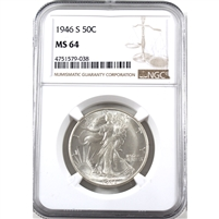 1946 S USA Half Dollar NGC Certified MS-64
