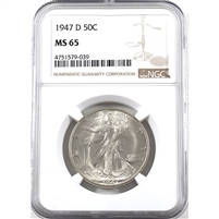 1947 D USA Half Dollar NGC Certified MS-65