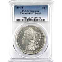 1891S USA Dollar PCGS Certified MS-60 Detail (Cleaned)