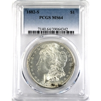 1882S USA Dollar PCGS Certified MS-64