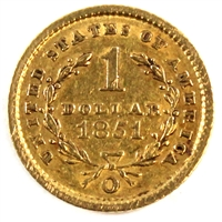 1851 O USA Gold Dollar Extra Fine (EF-40) $