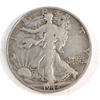 1942 S USA Half Dollar Circulated