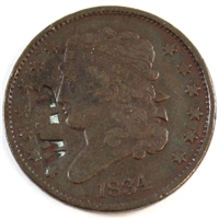 1834 USA Half Cent Very Fine (VF-20) W.B Counterstamp
