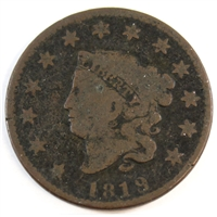 1819 Small Date USA Cent VG-F (VG-10)