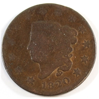 1820 Large Date Curl Top 2 USA Cent G-VG (G-6)