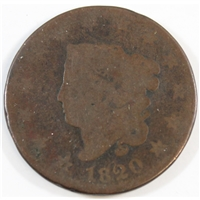 1820 Large Date Curl Top 2 USA Cent About Good (AG-3)