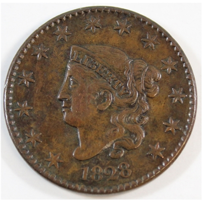 1828 Large Narrow Date USA Cent Almost Uncirculated (AU-50) $