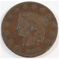 1829 Medium Letters USA Cent G-VG (G-6)