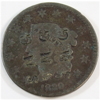1830 Large Letters USA Cent G-VG (G-6) SMG Counterstamped 3 times