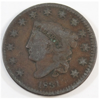 1831 Large Letters USA Cent Fine (F-12)