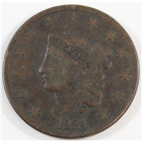 1834 Small 8 Large Stars Medium Letters USA Cent Fine (F-12)
