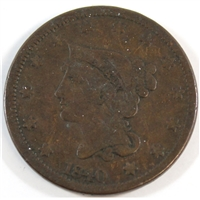1840 Large Date USA Cent VG-F (VG-10)